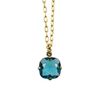 "Catherine Popesco Gold Plated Teal Swarovski Crystal Pendant Necklace, 16+2"" Extender"
