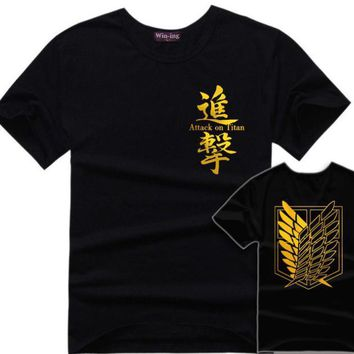 Cool Attack on Titan  T-Shirt Anime Men T Shirts Scouting Legion Tshirt Survey Corps Logo AT_90_11