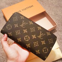 LV Tide brand classic checkerboard old flower female models long section folding zipper wallet