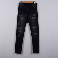 full length colored distressed zipper fly low waist pockets bleached ripped vintage loose cargo long pants women jeans