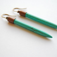 Turquoise Dagger Earrings - Handmade Jewelry - Free Shipping in the US - Holiday Jewelry / Christmas Gifts