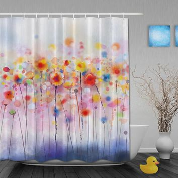 Custom Watercolor Red Poppy Flowers In The Nice Sunny Spring Shower Curtains Waterproof Fabric With Hooks Bathroom Curtain