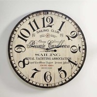 "22"" Large Vintage Look Yacht Club Wall Clock NEW"