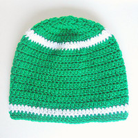 Toddler  Green  Hat With White Stripes 2 To 5 Year Old  Baby Boy Fall Cap Infant  Girl  Winter Beanie   Skullcap