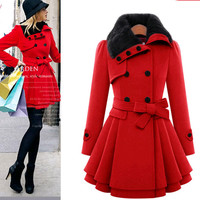 Wool coat belt buckle coat