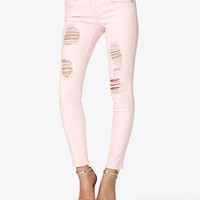 FOREVER 21 Destroyed Skinny Jeans Light Yellow 29
