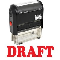 DRAFT Self Inking Rubber Stamp - Red Ink (42A1539WEB-R)