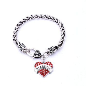 Diabetic Heart Charm Bracelet Medical Alert Diabetes Crystal