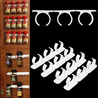 4 Sets Kitchen Clip Spice Gripper Jar Rack Storage Holder Wall Cabinet Door fp5 (Color: White)