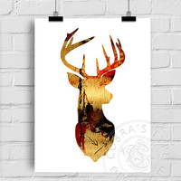 Gold Painted Deer Poster, Greeting Card, Printable Digital Download, Home, Office Wall Decor, Antler, Buck Tribal Art - Nursery Print CP-903