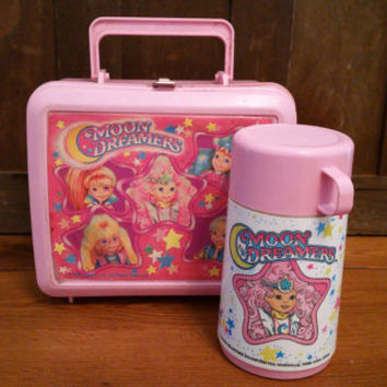 Vintage Plastic Pink Moon Dreamers Aladdin Lunch Box and Thermos
