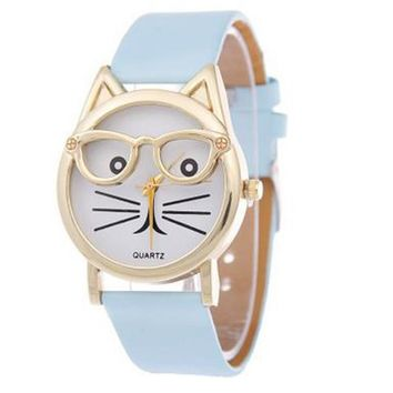 Curious Kitty Casual PU Leather Quartz Watch