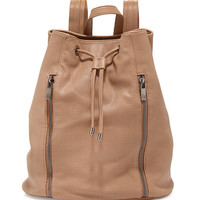 Neiman Marcus Perforated Zip-Front Drawstring Backpack, Camel