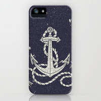 Navy Blue Nautical White Anchor for Sailor Texture iPhone Case by Railton Road | Society6