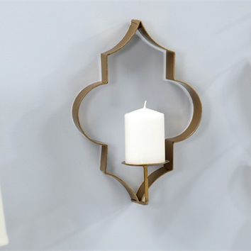 Sculpted Metal Pillar Candle Holder Wall Sconce
