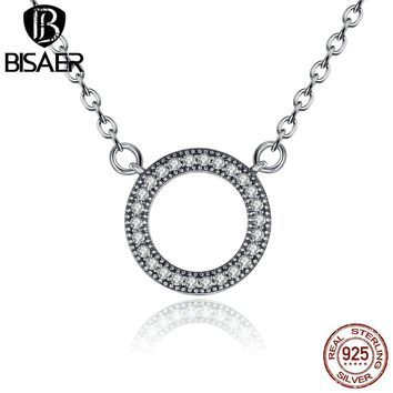 925 Sterling Silver Necklace Women Clear CZ Hearts Of Love Necklace & Pendants Collares Sterling Silver Jewelry Choker Necklace