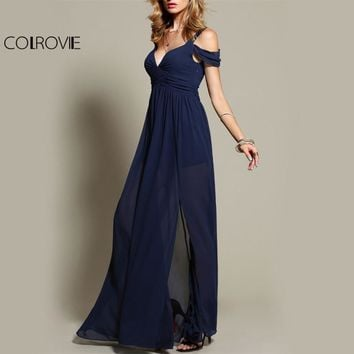 COLROVIE Navy Chiffon Draped Maxi Dress Cold Shoulder Women Sexy V Neck Elegant Party Dresses New Ruched Summer Long Dress