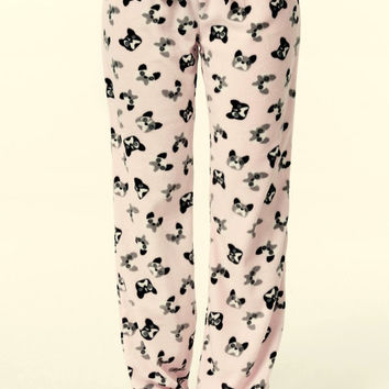 Women's Lounge Pants Micro Polar Fleece Light Pink Mini Dogs Printed Fleece Pajama Pants Loose Fit Pants Christmas Pants Gift Ideas