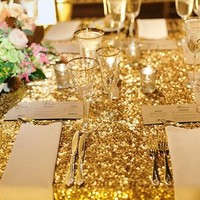 2017 New Gold Embroidered Sequin Tablecloth Rectangle 120x200cm Sequin Table Cloth for Wedding Birthday Party Buffet Decoration