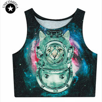 Summer Womens Crop Tops 3d Animal Tiger Lion Galaxy Weed Flower Skull Women Tank Top Cropped Fitness Boby T Shirt