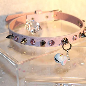 Customizable Faux leather vegan kittenplay petplay collar choker with pink rhinestone studs spikes and a bunny bell