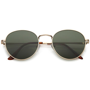 Vintage Indie Dapper Round Spectacle Flat Lens Sunglasses C126