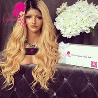 9A Grade 150% Density Human Hair wigs Ombre 1b/27# fashion wave full lace wig Virgin hair glueless wig lace front wig