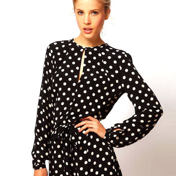 Black Polka Dot Long Sleeve Back Slit Jumpsuit