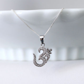 Sterling Silver and CZ Om Neckace, Yoga Necklace,  Sterling Silver Om Pendant on Sterling Silver Necklace Chain