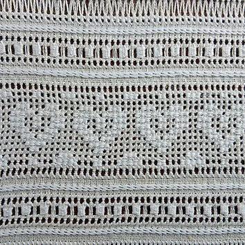 Linen hemstitch Vintage hem-stitching cutwork Drawnwork embroidery Openwork art Craft handwork Handmade Ukrainian embroidering Retro sampler
