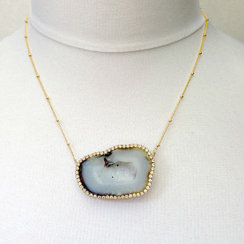 MEMORIAL DAY SALE Tabasco Geode Necklace Druzy Gem Slice Swarovski Crystal Diamond Look
