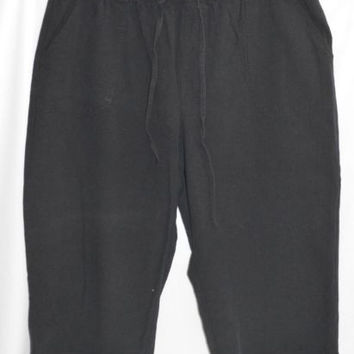 Size XXL Black Gauzy Capri Pants Womens Cotton
