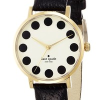Women's kate spade new york 'metro' patterned dial watch - Black Dot