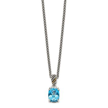 Sterling Silver Two Tone Silver And Gold Plated Sterling Silver w/Diamond and Blue Topaz Necklace