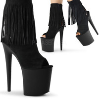 Black Suede Fringe Ankle Boots 8 Inch Heel-Stripper Boots