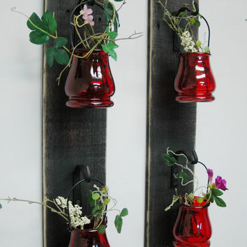 Jar Set of 2 Wall Decor with Wrought Iron hooks on recycled wood board bedroom decor, home decor, kitchen decor