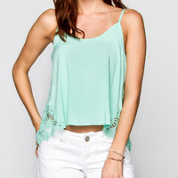 Full Tilt Womens Daisy Crochet Inset Tank Mint  In Sizes