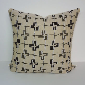 Retro Mid Century Designer Pillow Cover, Brown, Tan Decorative Cushion Cover, Throw Pillow, 20 x 20