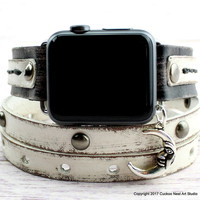 Black and White leather apple watch band with moon charm