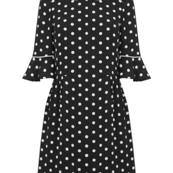 SPOT FLUTE SLEEVE DRESS