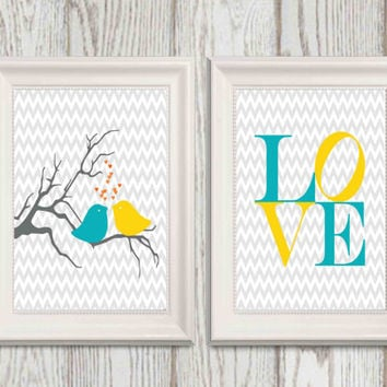 Nursery decor ideas Birds Love print Teal yellow gray Nursery decor Grey chevron INSTANT DOWNLOAD 8x10 set of 2 Little girls bedroom decor