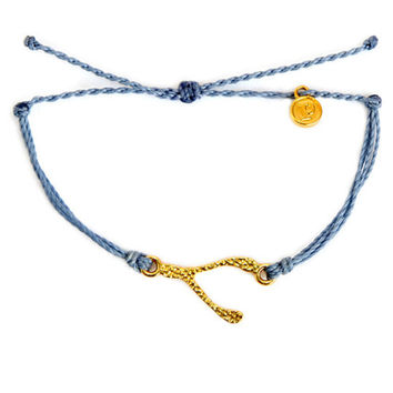 Pura Vida Gold Hammered Wishbone Bracelet in Columbia Blue