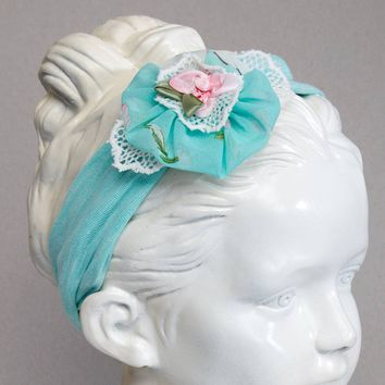 Aqua Knit Headband with Chiffon and Lace Flower