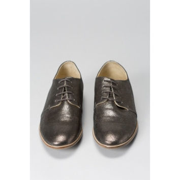 Elk Lucido Patent Wedge Derby shoes - Gunmetal metallic