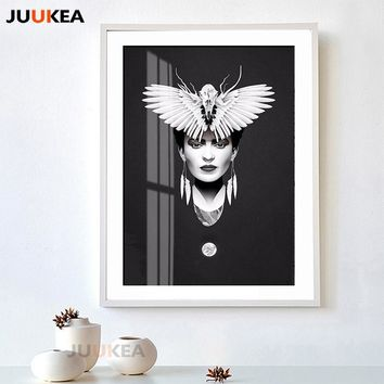 2018 New Frida Kahlo Fashion Floral Portrait Vogue Darkly Style Girl Eagle Wings, Wall Art Glciee Canvas Print Poster Home Decor