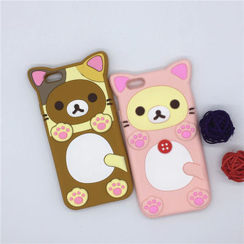 "NEW 3D Cartoon Rilakkuma Bear Cat Case Soft Silicone Cover For Apple iPhone SE 5 5S 5C & 6 6S 4.7"" & 6 6S Plus 5.5"" Rubber Shell"