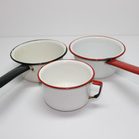 Enamelware White Collection Pots and Cup Set of 3 Vintage Kitchen