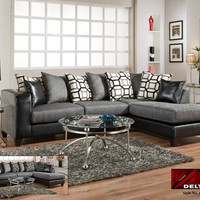 Chenille & Leather Sectional - Charcoal