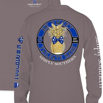 """Simply Southern """" Tailgate Hard"""" Long Sleeve Tee- Grey/Blue"""