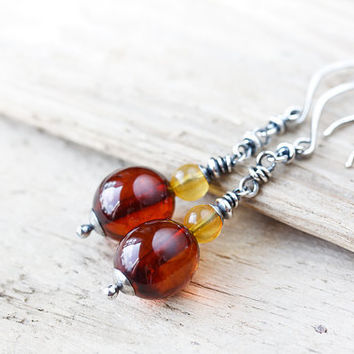 Long Natural Baltic Amber Earrings, Oxidized Sterling silver dangle earrings, smooth large oval yellow brown real amber beads, silver chain